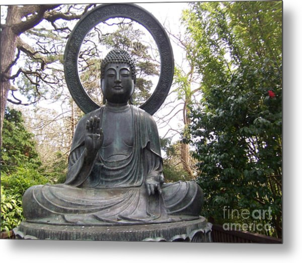 Buddha In The Woods Metal Print by Sharon Donahue