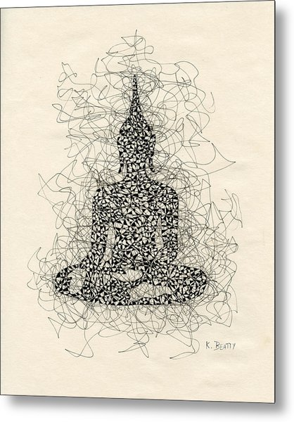 Buddha Pen And Ink Drawing Metal Print