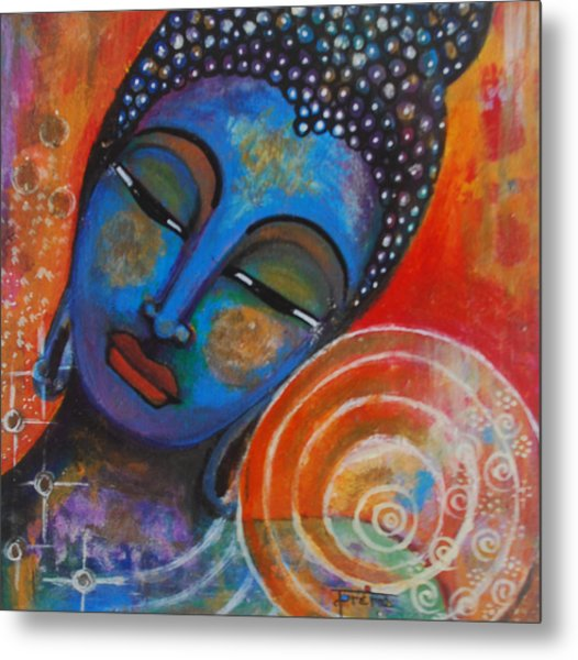 Metal Print featuring the painting Buddha by Prerna Poojara