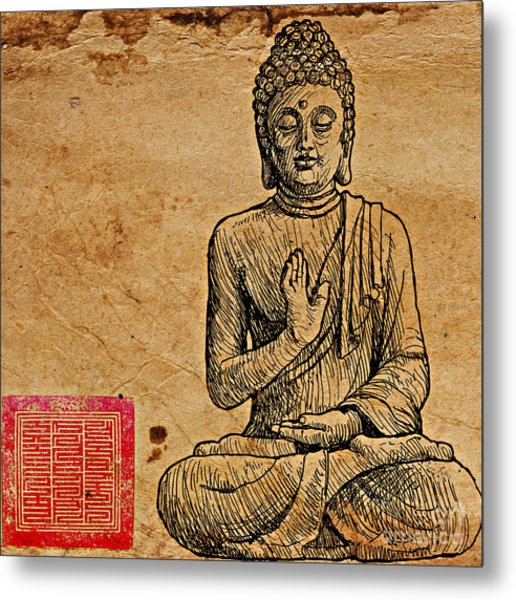 Metal Print featuring the drawing Buddha The Minimalist by Lita Kelley