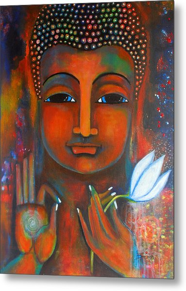 Buddha With A White Lotus In Earthy Tones Metal Print
