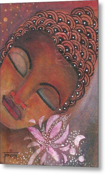 Metal Print featuring the painting Buddha With Pink Lotus by Prerna Poojara