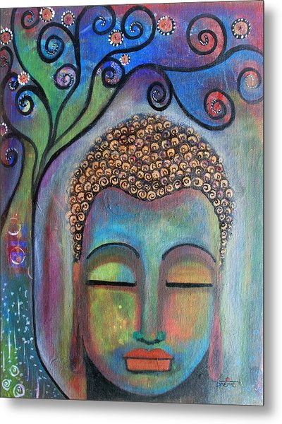 Metal Print featuring the painting Buddha With Tree Of Life by Prerna Poojara