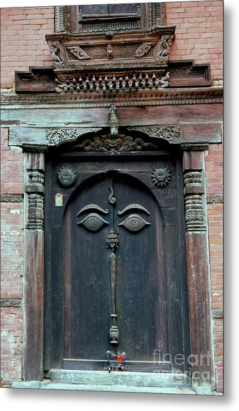 Buddha's Eyes On Nepalese Wooden Door Metal Print