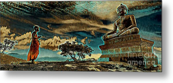 Metal Print featuring the mixed media Buddhist Monk Praying To Buddha by Lita Kelley