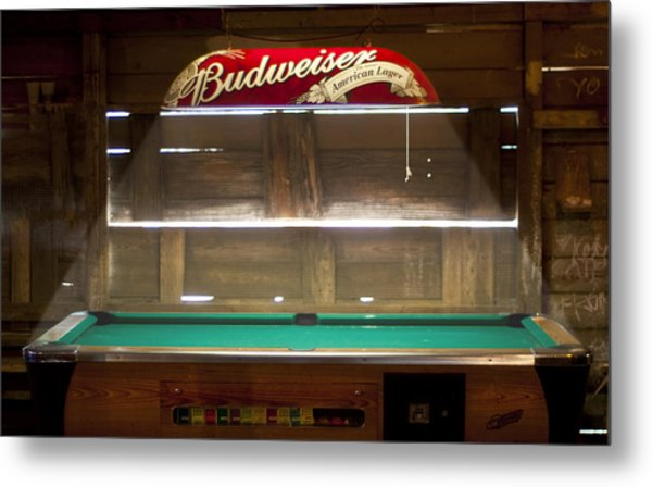 Budweiser Light Pool Table Metal Print