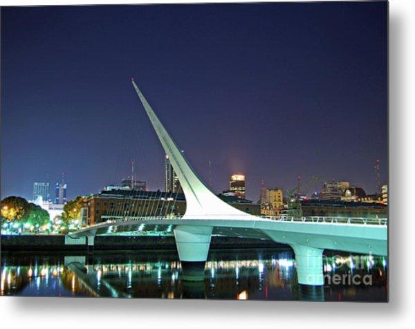 Buenos Aires - Argentina - Puente De La Mujer At Night Metal Print