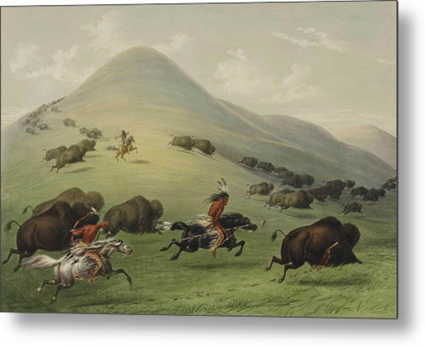 Buffalo Hunt Metal Print