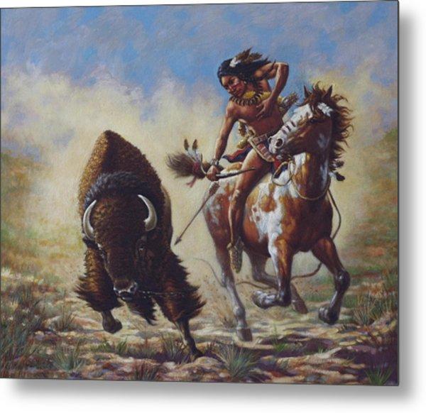Buffalo Hunter Metal Print