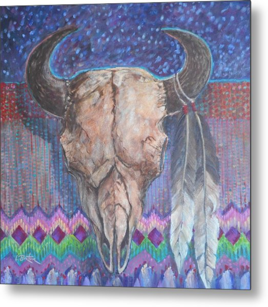 Buffalo Skull With Feathers Metal Print