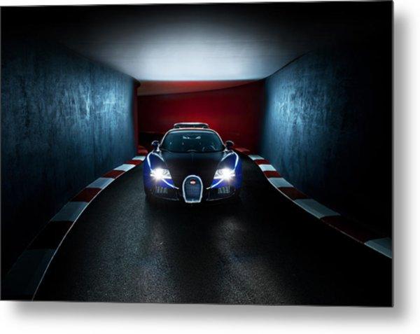Bugatti Veyron In Secret Tunnel Metal Print