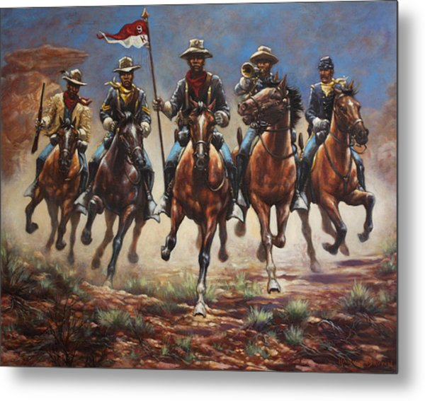 Bugler And The Guidon Metal Print