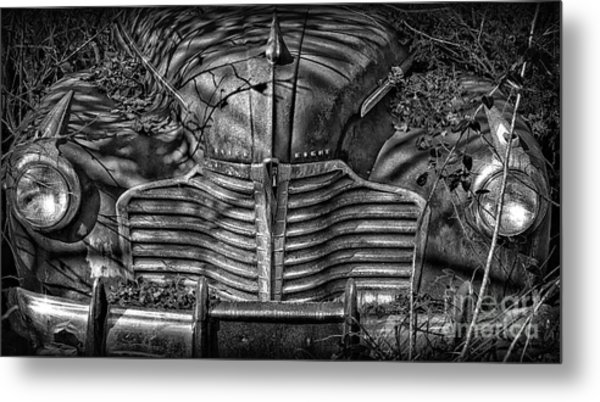 Buick Eight Front End Bw Metal Print