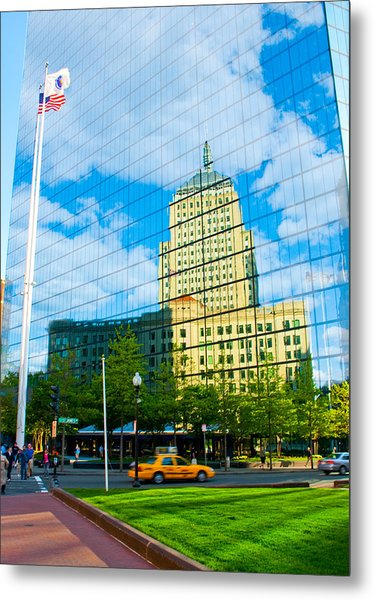 Building In Building Metal Print by Andrew Kubica