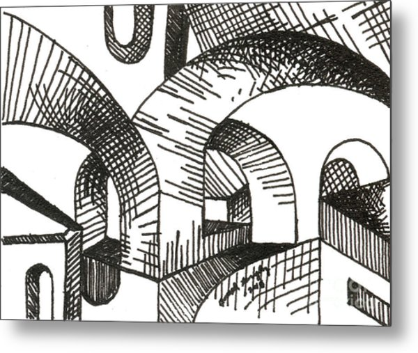Buildings 1 2015 - Aceo Metal Print