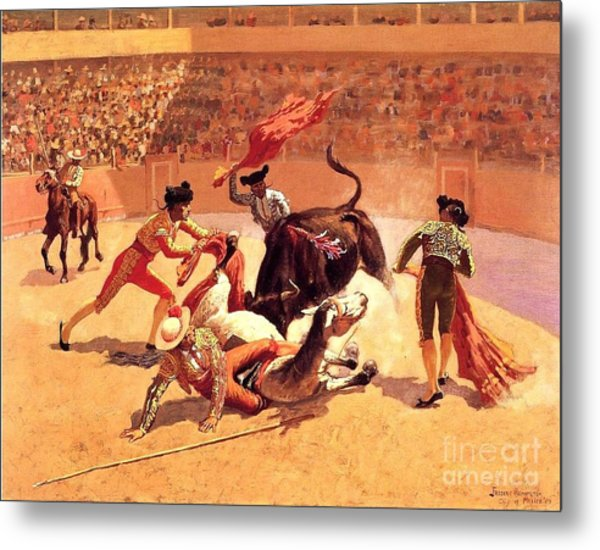 Bull Fight In Mexico Metal Print