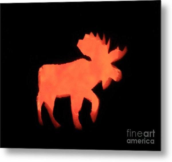 Bull Moose Pumpkin Metal Print