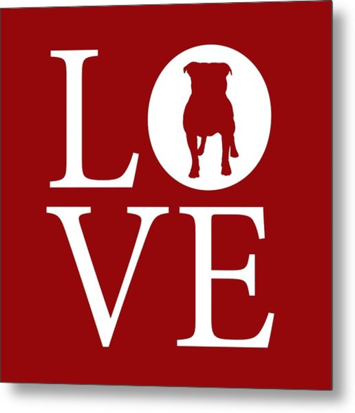 Bulldog Love Red Metal Print