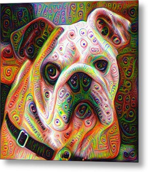 Bulldog Surreal Deep Dream Image Metal Print