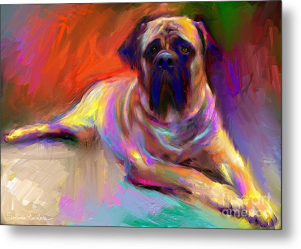 Bullmastiff Dog Painting Metal Print