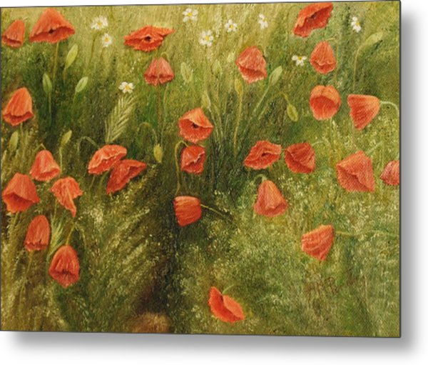 Bunch Of Poppies Metal Print