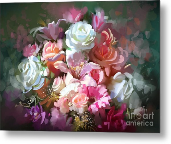 Bunch Of Roses Metal Print