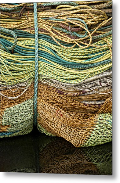 Bundle Of Fishing Nets And Ropes Metal Print