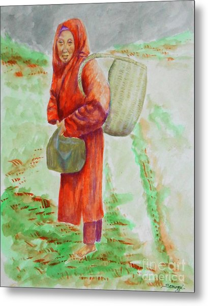 Bundled And Barefoot -- Portrait Of Old Asian Woman Outdoors Metal Print