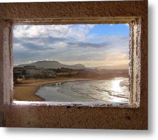 Bundoran And The Dartry Mountains Framed In The Window Of The Rougey Walk Shelter Metal Print