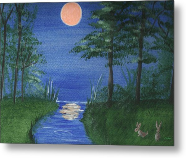 Bunnies In The Garden At Midnight Metal Print