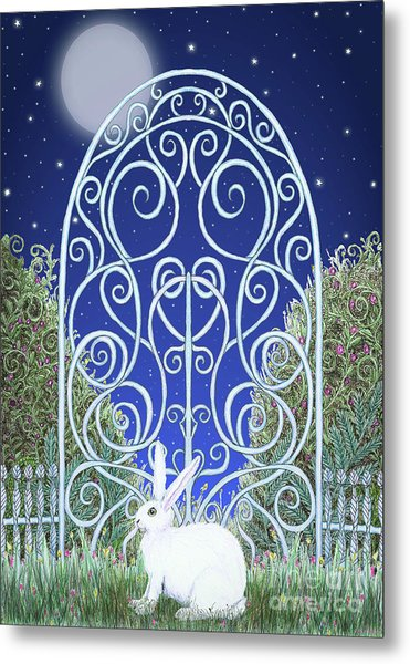 Bunny, Gate And Moon Metal Print
