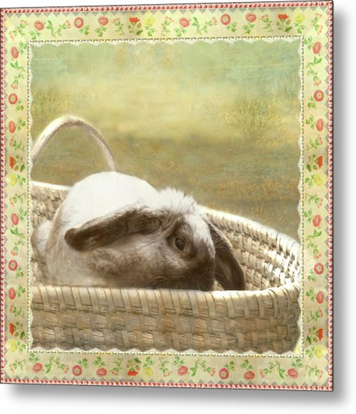 Bunny In Easter Basket Metal Print