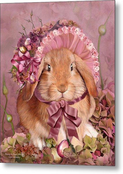 Bunny In Easter Bonnet Metal Print