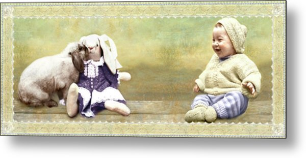 Bunny Kisses Doll Metal Print