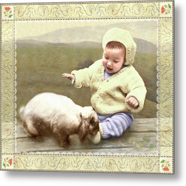 Bunny Nuzzles Baby's Toes Metal Print