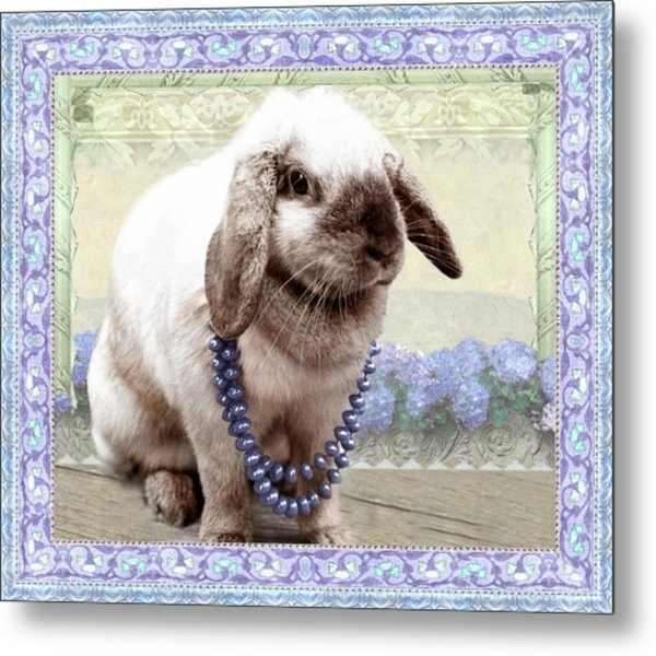 Bunny Wears Beads Metal Print
