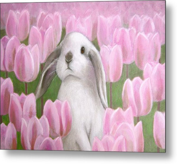 Bunny With Tulips Metal Print
