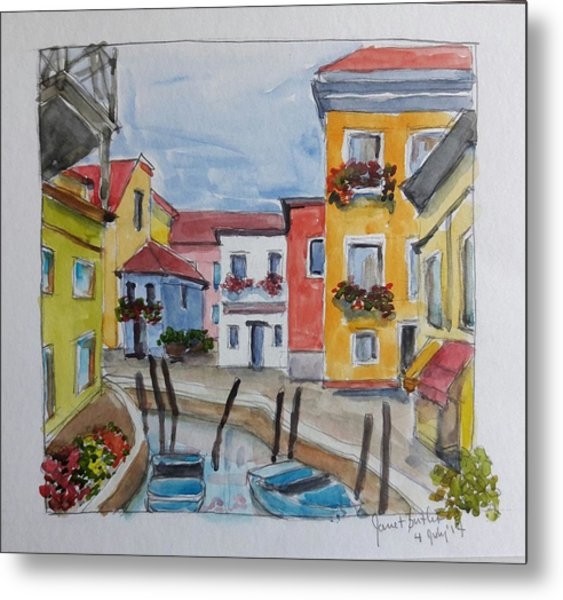 Burano, Italy Metal Print by Janet Butler