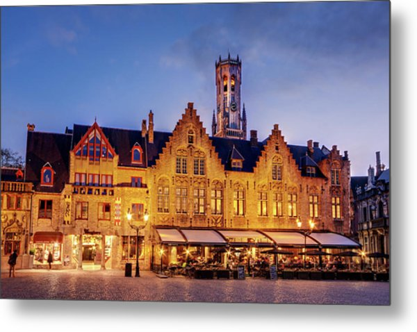 Metal Print featuring the photograph Burg Square Architecture At Night - Bruges by Barry O Carroll