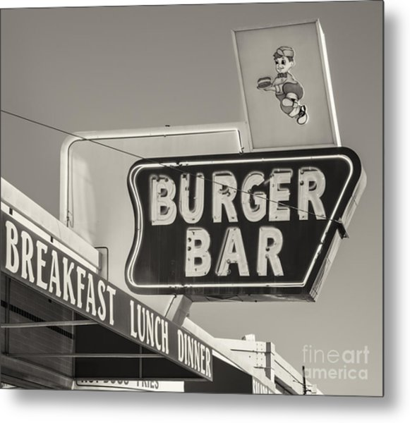 Burger Bar Bw Metal Print