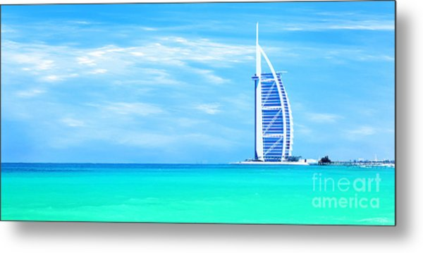 Burj Al Arab Hotel On Jumeirah Beach In Dubai Metal Print