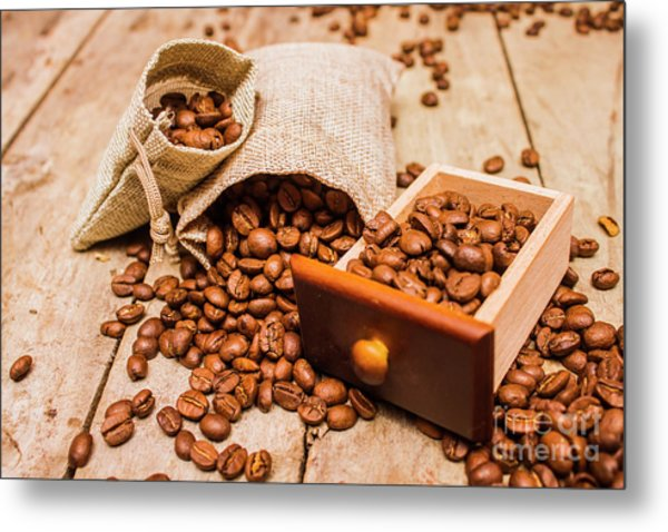 Burlap Bag Of Coffee Beans And Drawer Metal Print
