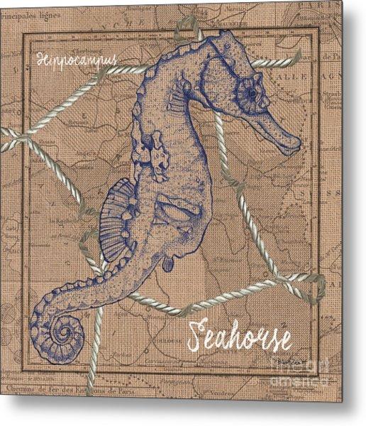Burlap Seahorse Metal Print