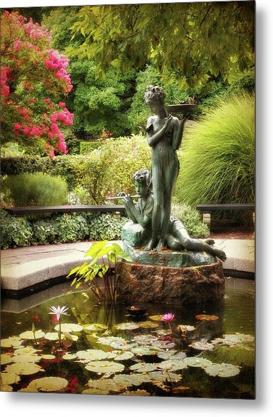 Burnett Fountain Garden Metal Print