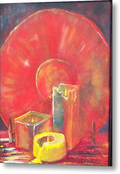 Burning Candles Metal Print by Lynda McDonald