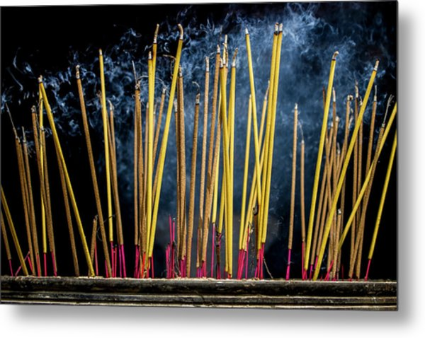 Burning Joss Sticks Metal Print