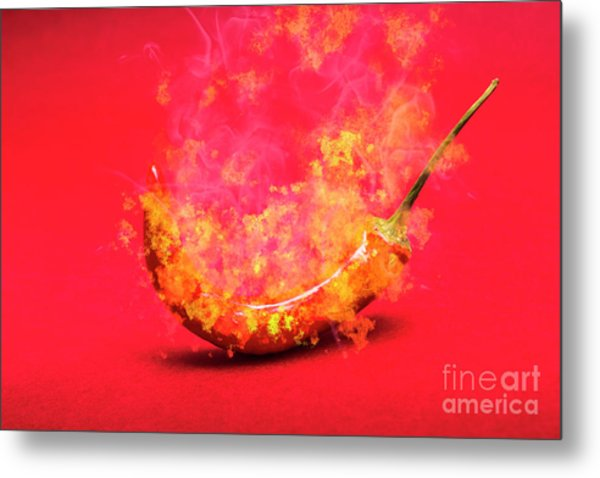 Burning Red Hot Chili Pepper. Mexican Food Metal Print