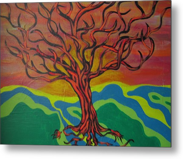 Burning Tree Metal Print by Rebecca Jankowitz