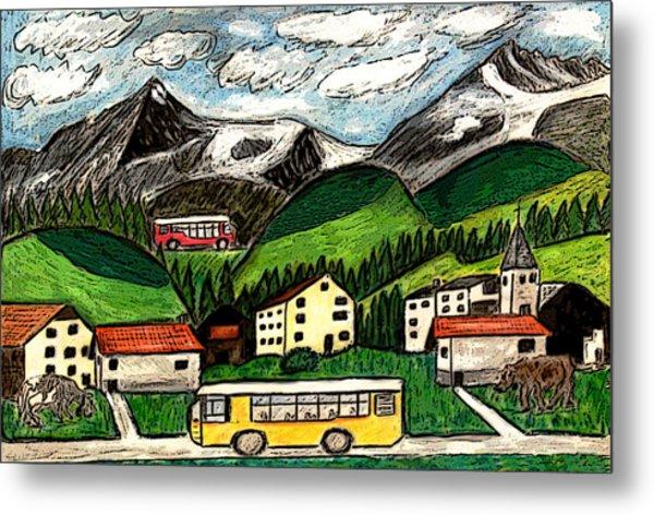 Bus Travel Metal Print by Monica Engeler