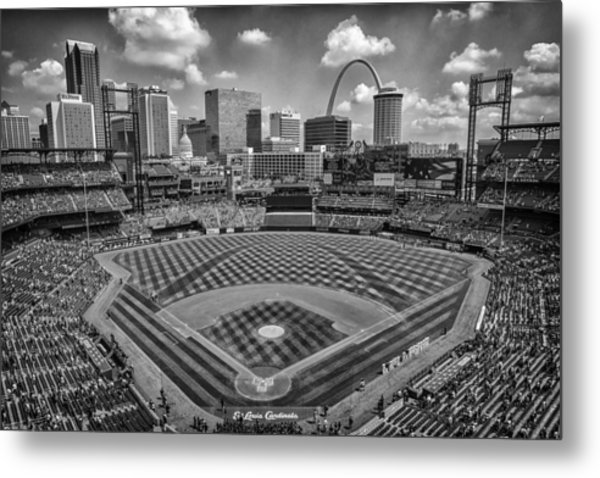 Busch Stadium St. Louis Cardinals Black White Ballpark Village Metal Print